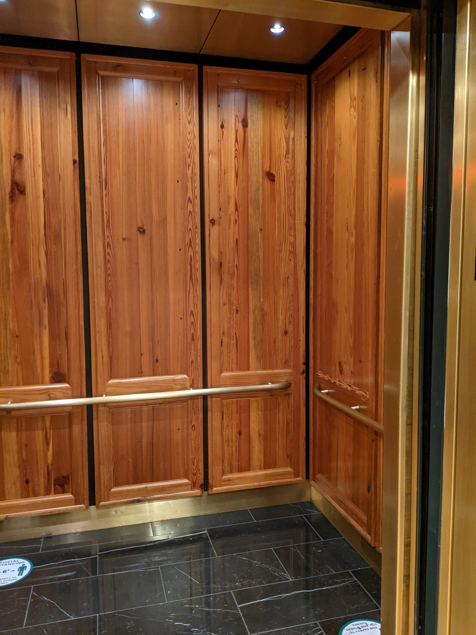 historic paneled elevator
